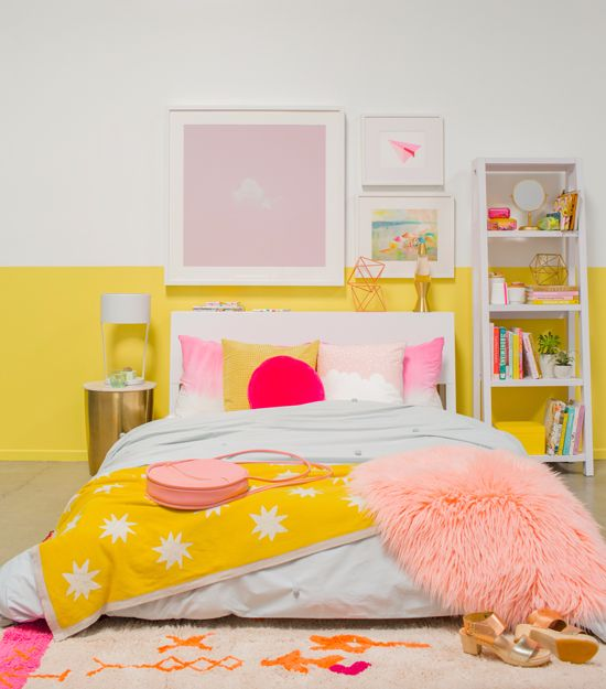 Charming Color Adventures: A Pink U0026 Yellow Bedroom.