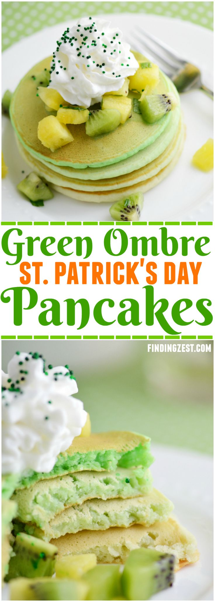 Serve these Green Ombre St. Patrick's Day Pancakes for a delicious breakfast or brunch! Topped with fresh kiwi and pineapple fruit salsa, it is sure to delight. #stpatricksday #stpaddysday #pancakes #ombre #fruit #breakfast #kidfriendly