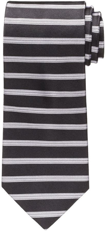 $64, Black and White Horizontal Striped Tie: Jos. A. Bank Horizontal Stripe Tie. Sold by Jos. A. Bank. Click for more info: http://lookastic.com/men/shop_items/27660/redirect
