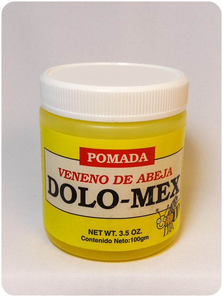 DOLO-MEX POMADA VENENO DE ABEJA  Arthritis pain relief ointment. Recommended for pain associated with arthritis Provides temporary relief of sore muscles and joints Deep tissue relief for neck pain, shoulder pain and lower back pain Usada para calmar el dolor muscular Abeja, vibora, snake oil is a traditional Mexican Remedy