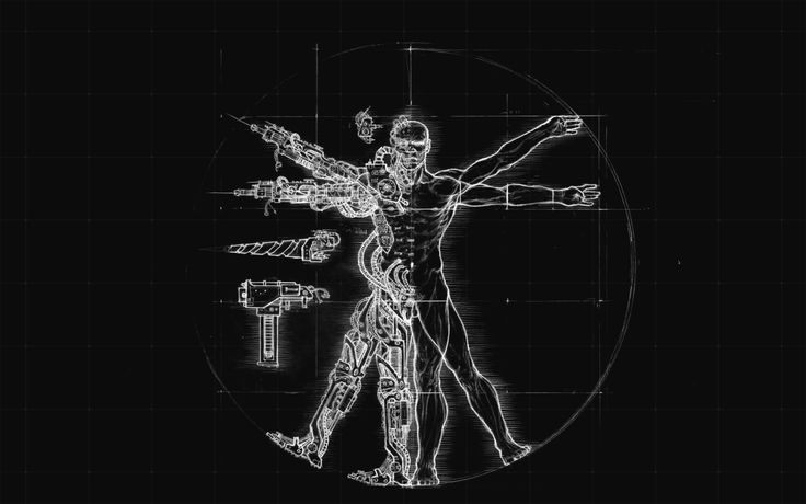 cyborgs vitruvian man 1920x1200 wallpaper Art HD Wallpaper