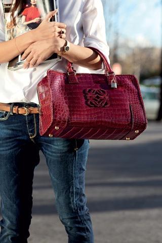 Loewe - love burgandy bags!
