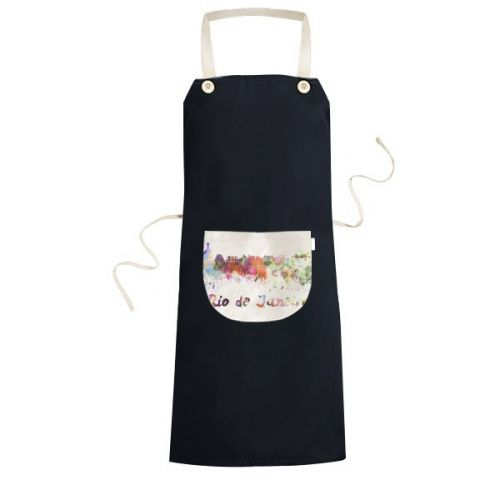 Rio De Janerio Brazil Country City Watercolor Illustration Cooking Kitchen Black Bib Aprons With Pocket for Women Men Chef Gifts #BibApron #RioDeJanerio #Cooking #Brazil #Kitchen #Country #Apron #City #WithPocket #Watercolor #KitchenApron #Illustration #BlackApron #CookingApron #Gift