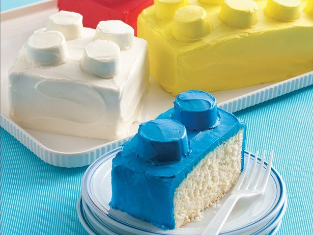 Building Blocks Cakes- I took a few short cuts after reading the comments on this. It was soooo easy and my 5 year old was really happy. Skip the crumb coat, skip slicing it into several blocks. I made one giant Lego cake out of my 13x9 cake. Then used his mini figures to hold the candles. I stored it in the microwave overnight since I had nothing to cover it with that wouldn't ruin the frosting.