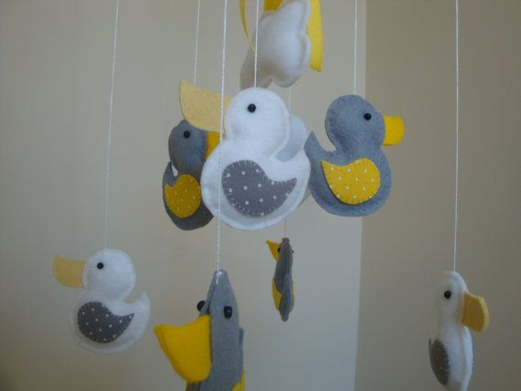 Mobile little Ducky in Yellow and Gray by Kellydelights on Etsy, $68.00