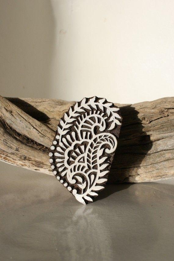Hand carved wood textile block print stamp