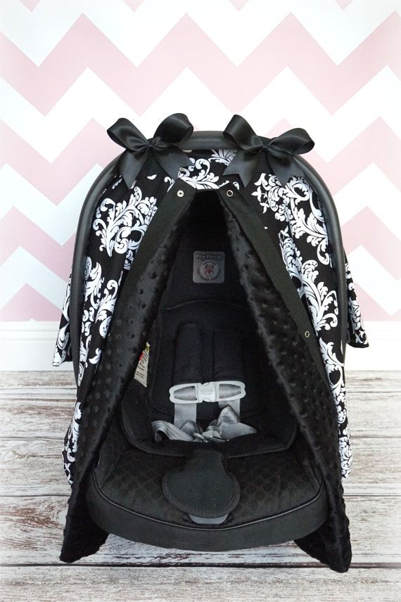 MINKY carseat canopy car seat cover BLACK white by JaydenandOlivia