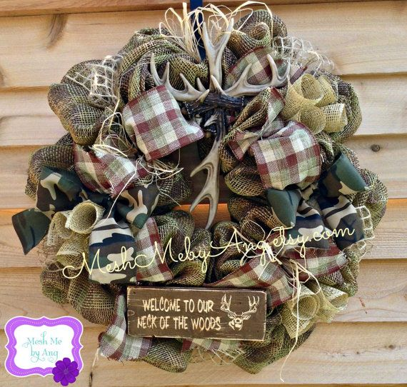 Hunting deco mesh wreath all season wreath summer by MeshMebyAng, $85.00