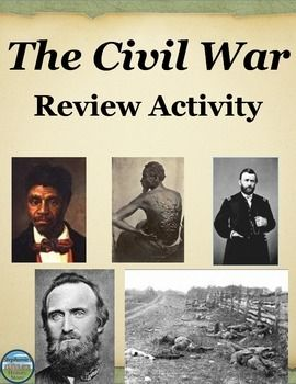 This Civil War review activity contains 22 questions (including a timeline) to help students review the American Civil War.  Topics covered include but are not limited to: slavery, abolition, Kansas-Nebraska Act, Bleeding Kansas, John Brown's Raid, Dred Scott Decision, Anaconda Plan, and the Emancipation Proclamation.  This could take up to 2 days and would be great for a sub!