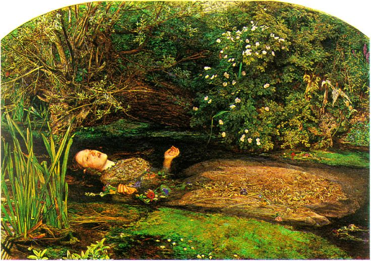 Millais' Ophelia. Interesting fact that I learned while writing a paper on this piece for college: Lizzie Siddal lay in the tub for so long posing for this that she caught pneumonia; her father made Millais pay for her doctor's bills. :)