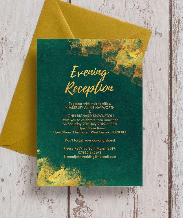 61 best beautiful evening wedding reception invitations images on emerald gold evening reception invitation stopboris Images