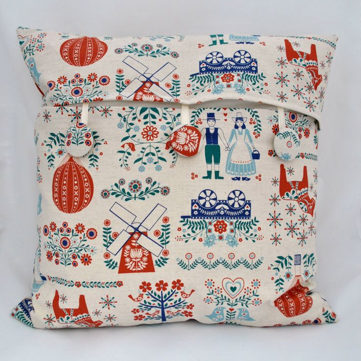 Dutch Door Scandi Fabric Kokka Cushion Cover with self covered button opening by SewSister