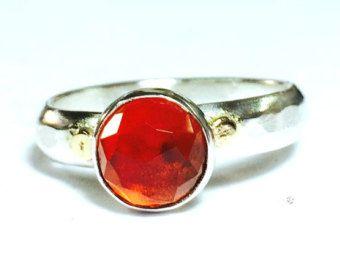 Anillo de compromiso hecho a mano, cuarzo rojo, regalo para ella, anillo de plata 925, Similar anillo de diamantes, regalo de día de San Valentín, regalos