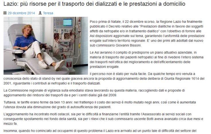 Lazio: più risorse per il trasporto dei dializzati e le prestazioni a domicilio http://www.teresapetrangolini.it/lazio-piu-risorse-per-dializzati/