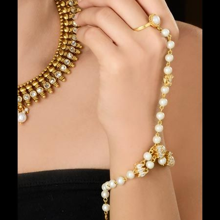 Gold Bracelet Ring Attached