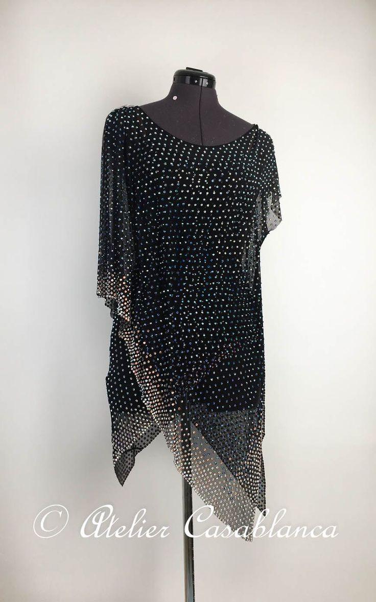 LK-EAG3 アクアマリンのオーロラ、オーロラの石びっしりのチュニック風の黒のラテンドレス(9号) | Atelier Casablanca -ダンスドレスの部屋- - 楽天ブログ