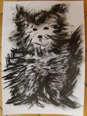 Pejsek (kočka) - malba tuší a kartáčkem