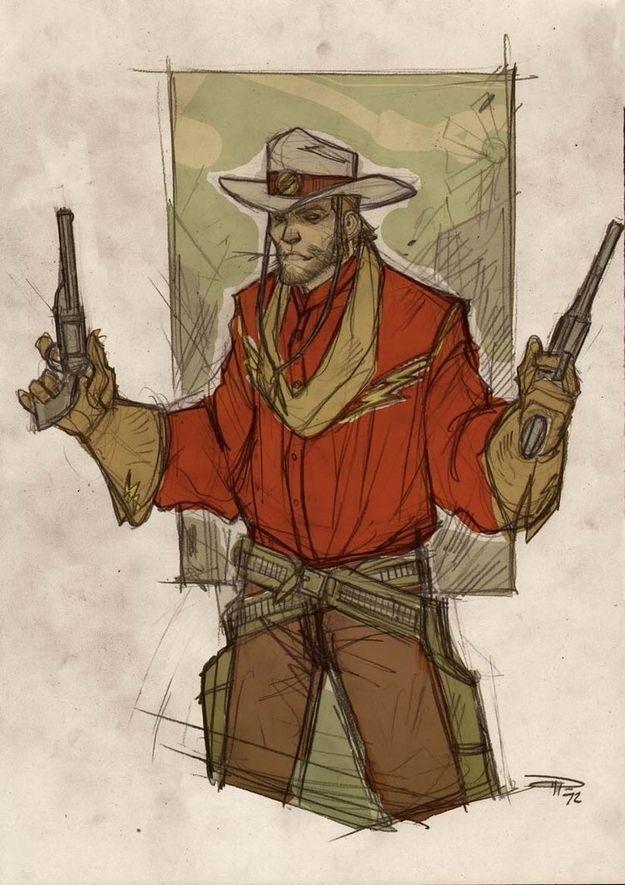 la ligue des justiciers version western flash   La ligue des justiciers version western   wonder woman western superman ligue des justiciers flash cowboy Batman aquaman