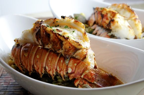 Broiled Lobster Tails with Manila Clams & Corn ~ Sherry Cognac Lobster Broth with Tarragon & Parsley (Your Next Lobster Tail Recipe!)