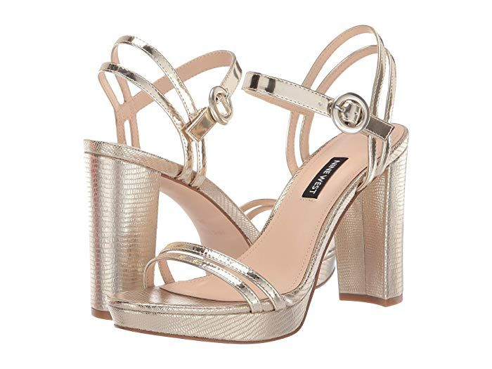 Nine West Daisy At Zappos Com 90 Gold Strappy Heels Heels Rose Gold Earrings Wedding