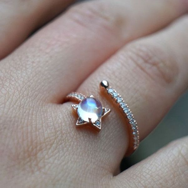 Unique Dreamlike Rose Gold Sparkle Moonstone Star Open Ring Nice Jewelry Gift for Her