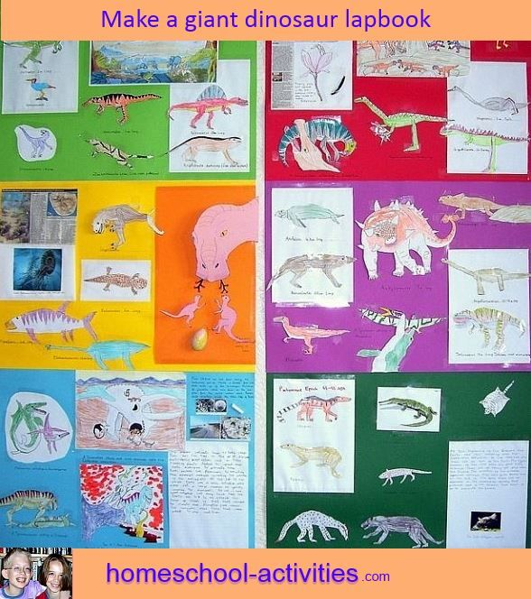 Make a giant lapbook.  Fun ideas and activities from one of the very few second generation homeschooling families. www.homeschool-activities.com/lapbook.html