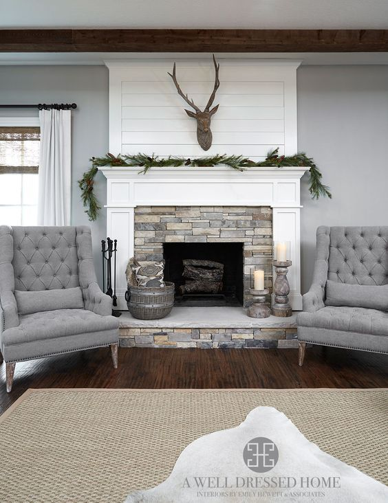 (4) Aledo Project – TV Room @ A Well Dressed Home - shiplap fireplace accent wall with gray | Living Spaces | Pinterest