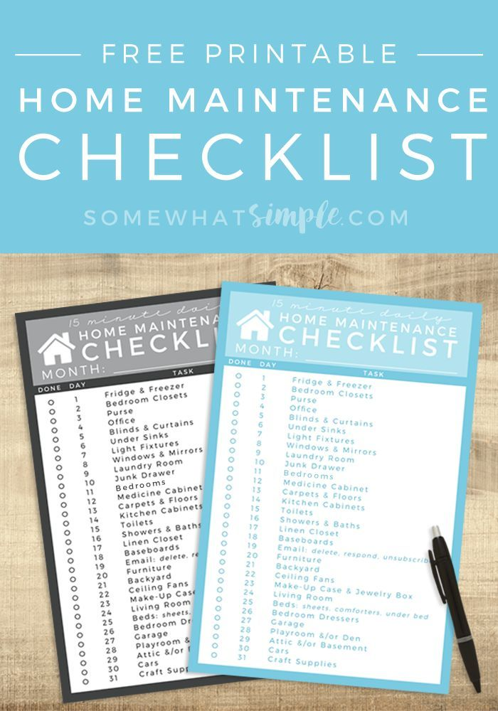 home maintenance checklist free printable