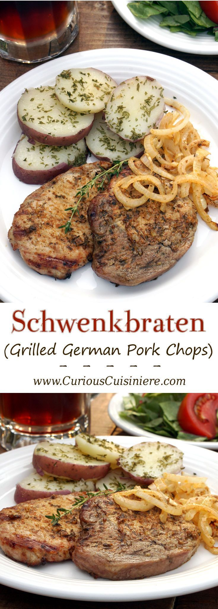 Juicy, smoky grilled German pork chops are cooked on a swinging grill called a schwenker ! | www.CuriousCuisiniere.com