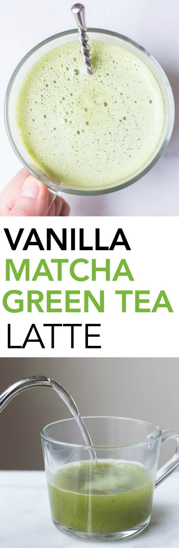 Vanilla Matcha Green Tea Latte: a dairy free, vegan, and healthy homemade green tea latte that only requires 4 ingredients! A Starbucks copycat! || fooduzzi.com recipe