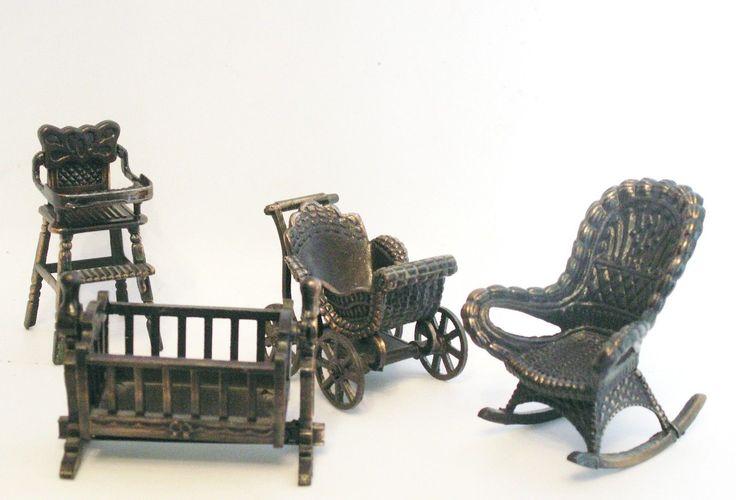 1970's Durham Doll House furniture baby room rocker stroller high chair cradle | eBay