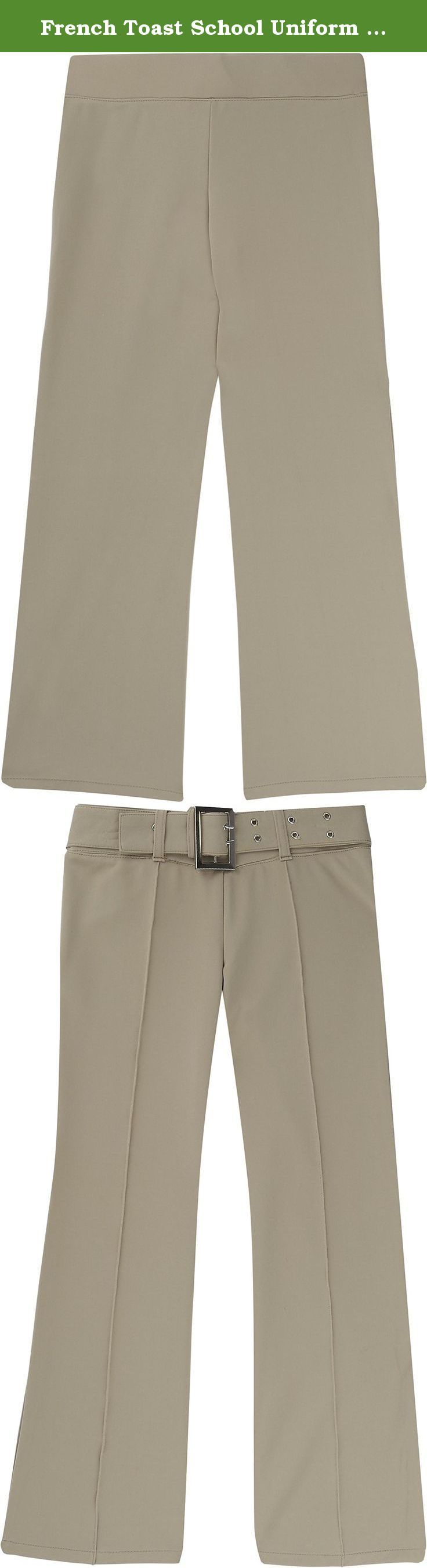 French Toast School Uniform Girls Pull On Self Belt Pants, Khaki, X-Large (14/16). This fitted elastic waist pant blends the best of pull-on comfort with an eye-catching stylish mock belt. Bootleg cut, drop waist, and pintucked front adds extra fashion. Polyester/spandex. Imported. Machine wash.
