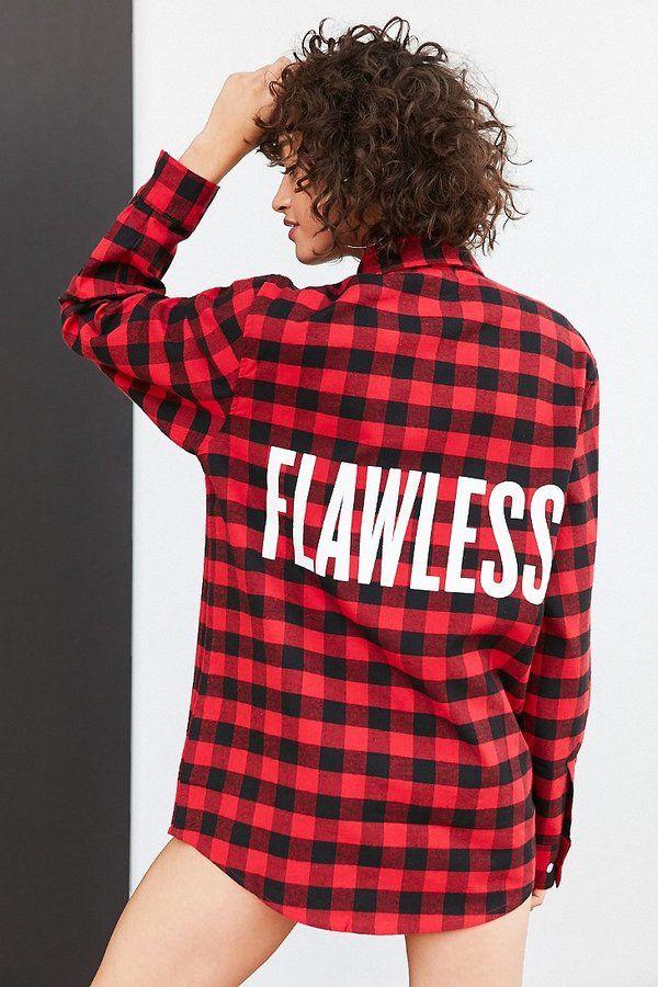 Beyonce Flawless Buffalo Check Flannel Shirt