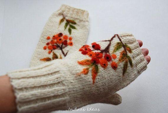 White knited Fingerless gloves with felted rowan by Indrasideas