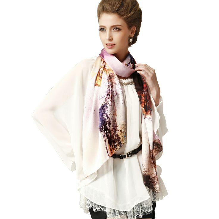 68.9x21.7inch - 175x55cm Silk Wrap - Floral H8 - Scarves & Wraps - Women