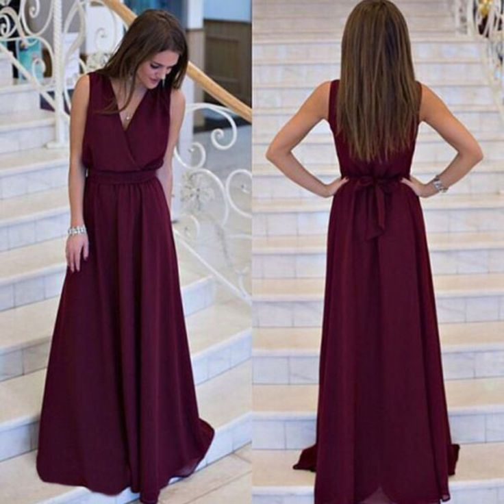 Fit And Flare V-Neckline Women Maxi Dress With Belt