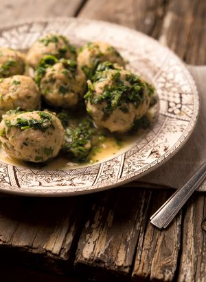 German style of fish meatball served with a fresh sauce of green herbs