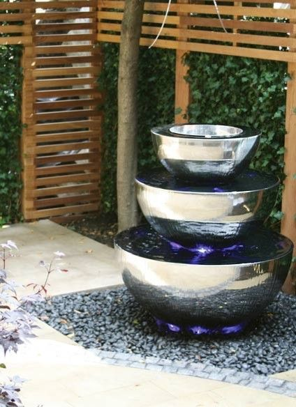 water fountains outdoorhttp://www.fountaincellar.com/outdoor-fountains.htmlsimpely settings a outside the home and attech the 0.5 word small LED light.