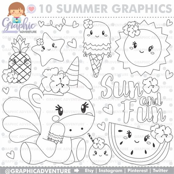 Unicorn Stamps Summer Stamps Commercial Use Ice Cream Etsy Unicorn Coloring Pages Coloring Pages Free Coloring Pages