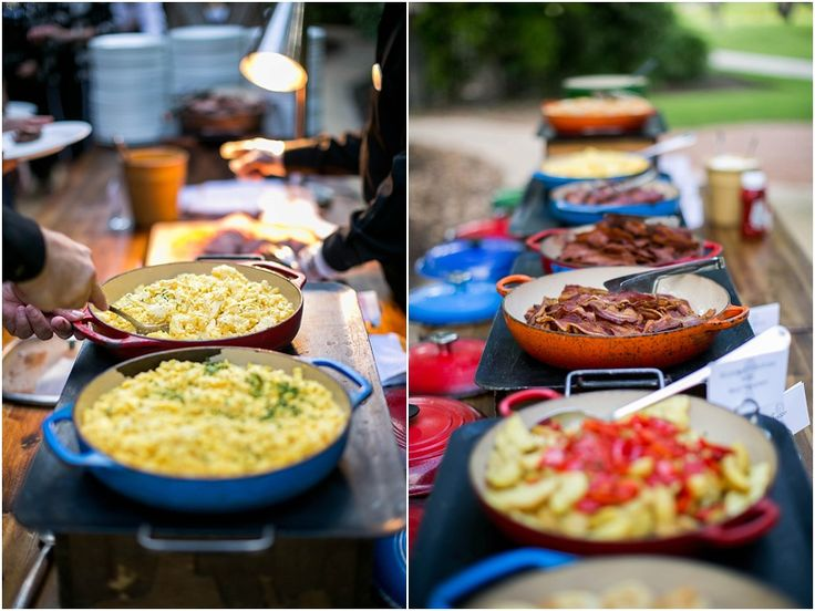 A delicious display of brunch items is definitely the way to go, especially if there is bacon in the mix!