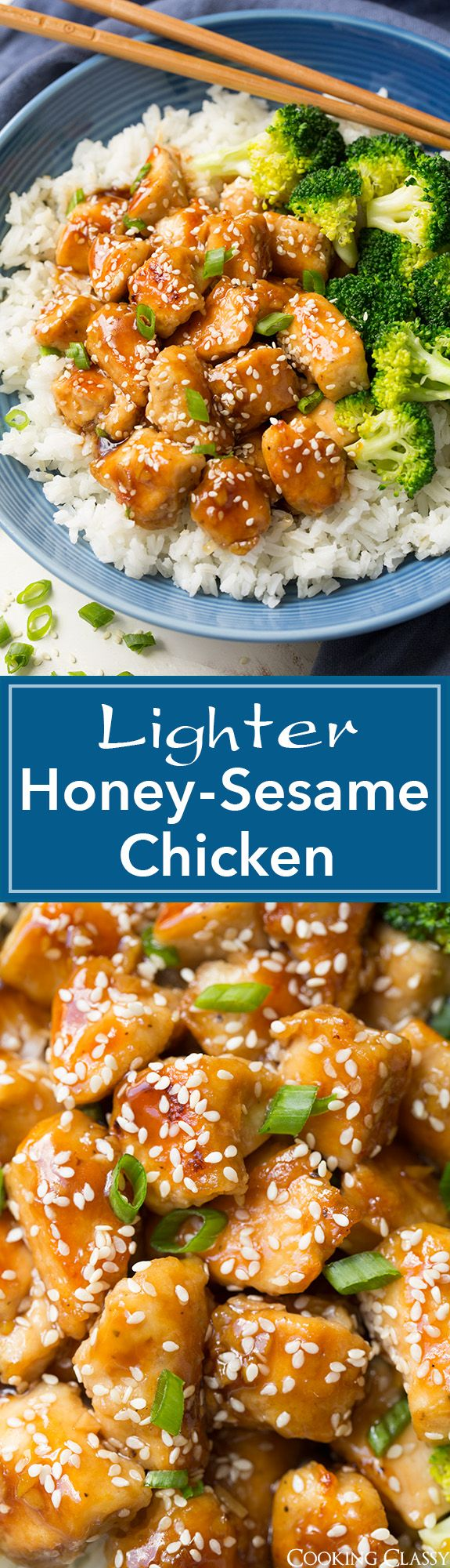 Lighter Honey-Sesame Chicken - you won't even miss the frying! Seriously delicious and full of flavor!