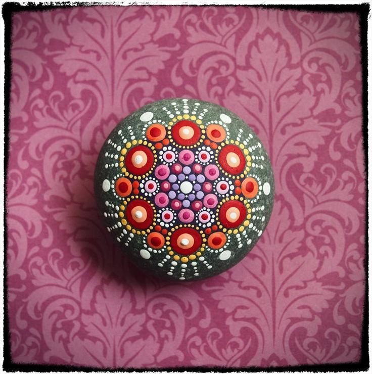 Jewel drop mandala painted stone fireflies by - Where to buy rocks to paint ...