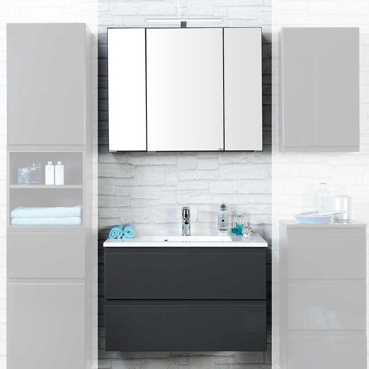 Luxury Badezimmer Set in Wei und Grau Spiegelschrank teilig Jetzt bestellen unter