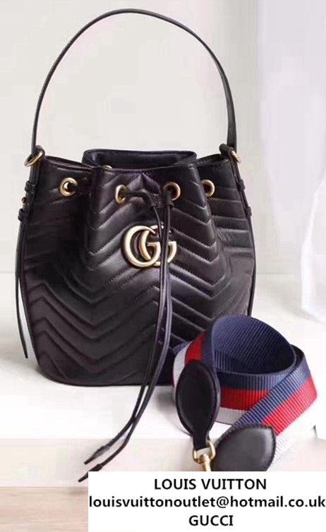 c39c0f9f110217 Gucci GG Marmont Quilted Leather Bucket Bag With Sylvie Web Strap 476674  Black 2017