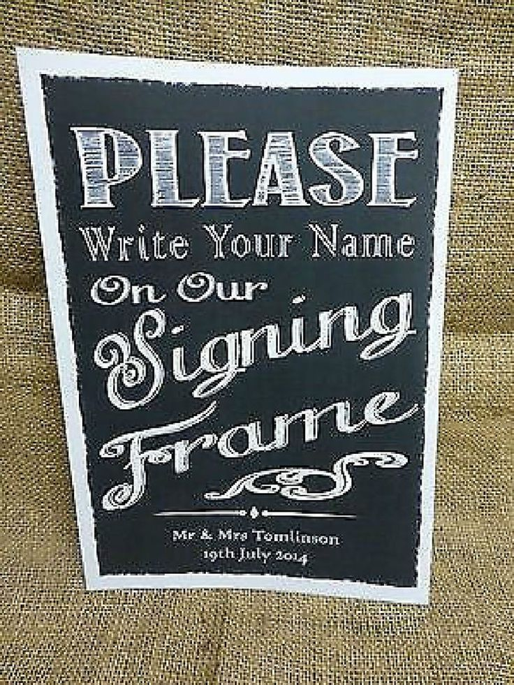 SIGNING FRAME Guest Book SIGN A4 Vintage Chalkboard Style PERSONALISED WEDDING