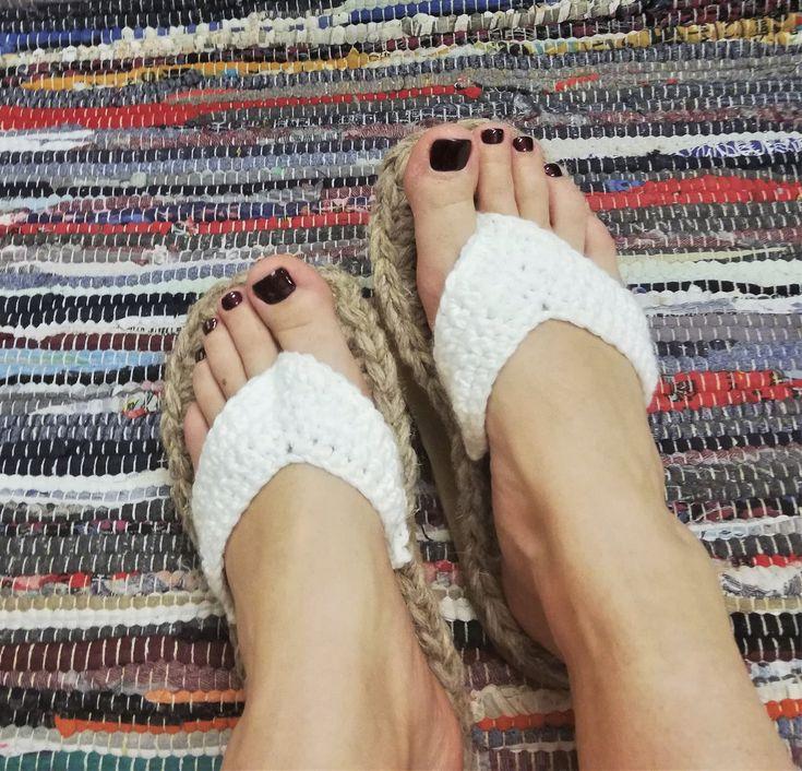 Crochet summer outdoor flip flops with rubber soles / Summer slippers / rubber soles / crocheted shoes for women / sauna slippers / loafers