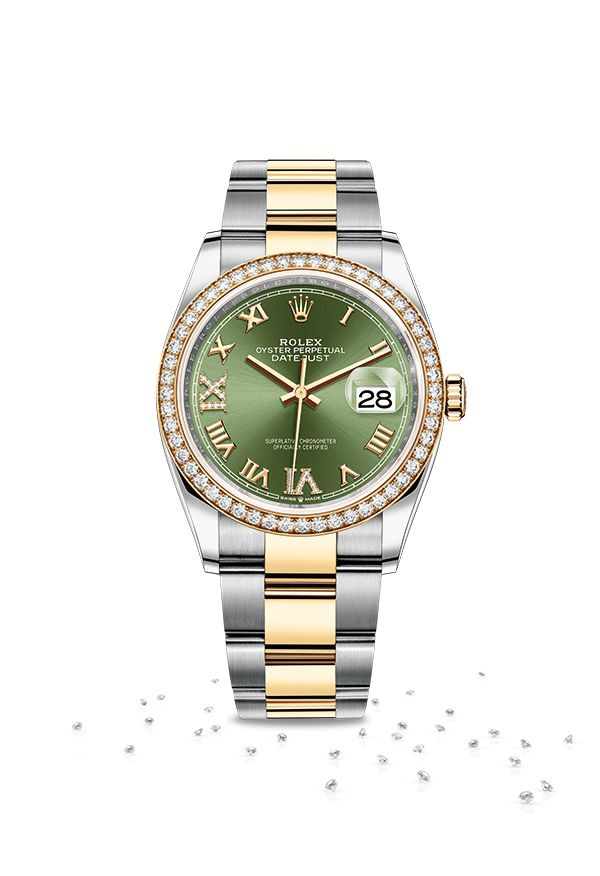 f181f8e90a0 The Rolex Datejust 36 in a yellow Rolesor version - a combination of  Oystersteel and 18ct yellow gold - featuring an olive green dial set with  diamonds and ...