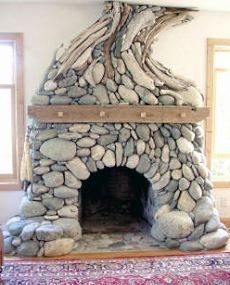 Stone Fireplace by Michael Eckerman of Santa Cruz,  California-based Eckerman Studios