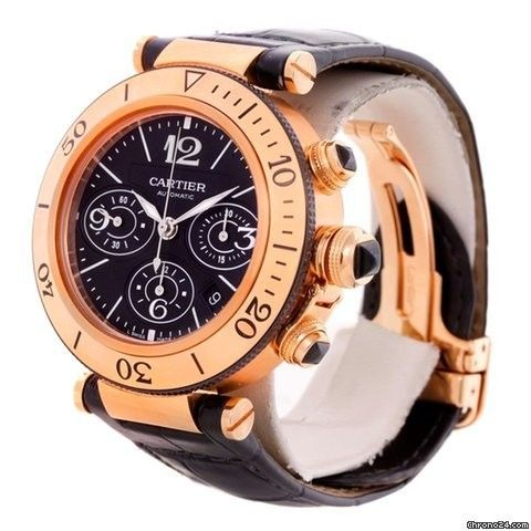 Cartier Pasha 18kt Rose Gold Chronograph Mens Watch W3030018