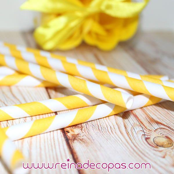 Pajitas de papel con rayas en amarillo y blanco para tu CandyBar. http://www.reinadecopas.com/es/reinadecopas/279-pajitas-de-papel-a-rayas-30-uds.html